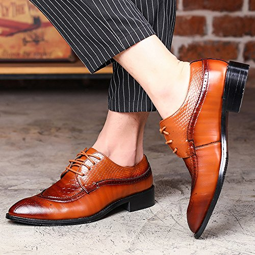 taglia marrone con stringhe colore scarpe Business pelle in serpente foderato shoes carving Splice di Xiaojuan texture Hollow lacci PU pelle Low da 5 nbsp;UK top traspirante superiore uomo ABZ4gSq