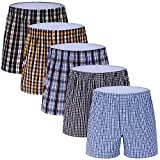 5-Pack Men's Woven Boxer Underwear 100% Cotton Premium Quality Shorts T2-X-Large