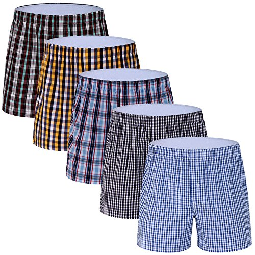 5-Pack Men's Woven Boxer Underwear 100% Cotton Premium Quality Shorts ()
