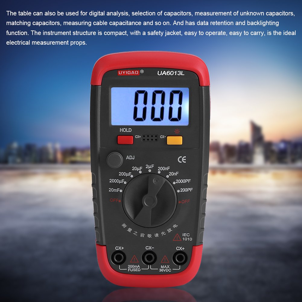 Digital Capacitance Meter Professional Capacitor Tester with LCD Backlight and Safety Jacket Max 1999 Display 20000uF 0.1pF