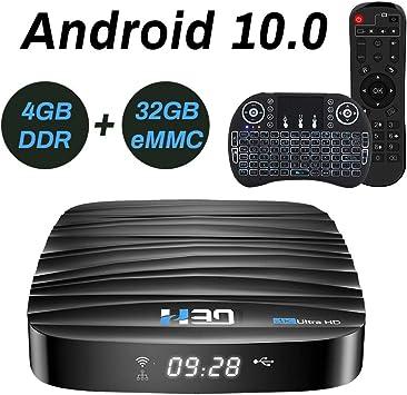 Android TV Box 10, 4GB 32GB Smart TV Box Compatible con 4K 3D, RK3318 Dual-WiFi 2.4g / 5g con Mini Teclado: Amazon.es: Electrónica
