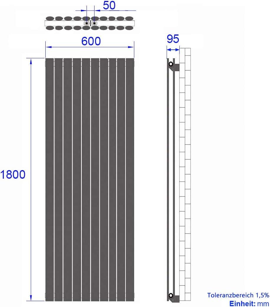 Heizk/örper Oval 1800x480mm Mittelanschluss Doppellagig Anthrazit 1640 Watt Vertikal Designheizk/örper Heizung