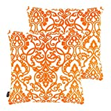 Set of 2 Orange Throw Pillow Cotton Cushion Covers For Sofa Home Bedding Accessories