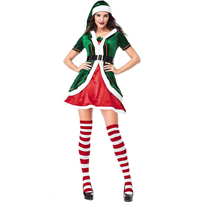 e6f62a7585ef Amazon.com  Slimate Women s Mrs. Claus Costume 2 Piece Hooded Santa ...