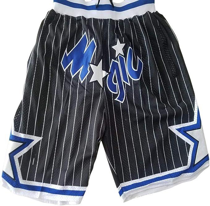 QIXUN Pantalon de Basketball NBA Magic Team Pantalon de Poche Short de Basketball brod/é r/étro