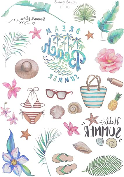 Luau Party Supplies, Decorations 6 Tropical Sticker Packs for Kids Adults Flamingo Stickers Party Favors Pack