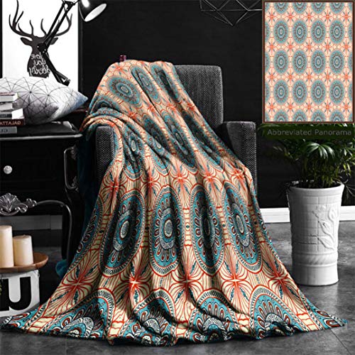 Nalagoo Unique Custom Flannel Blankets Tribal Decor Abstract Aztec Style Tribal Ethnic Background Flower Pattern Mystical Print Aqua Or Super Soft Blanketry for Bed Couch, Twin Size 60