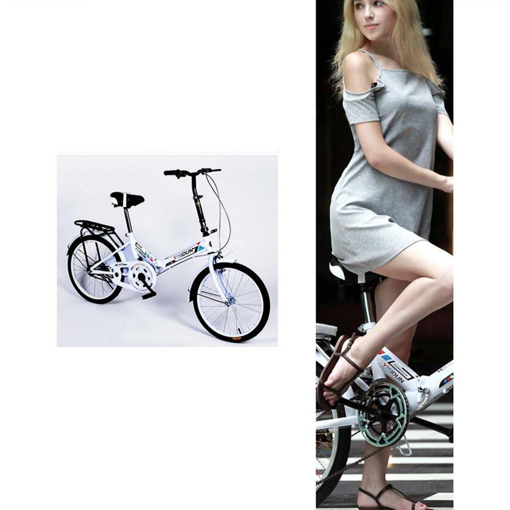 XQ 20 pulgadas de bicicleta plegable bicicleta de velocidad individual hombres y mujeres bicicleta bicicleta de los niños adultos (Color : Pink) : ...