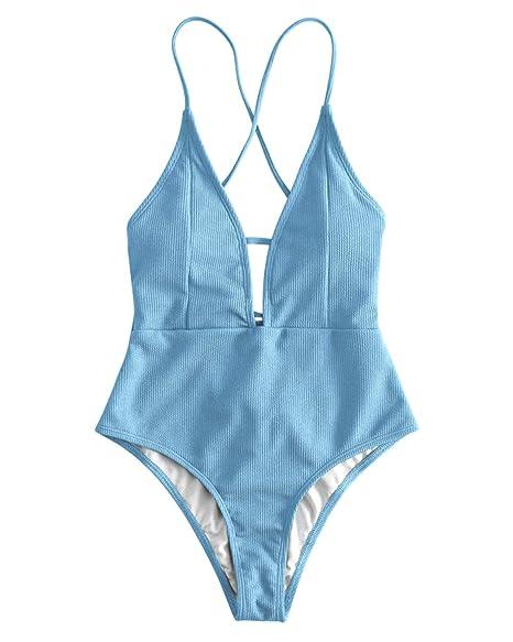 Amazon.com: ZAFUL - Traje de baño para mujer con encaje ...