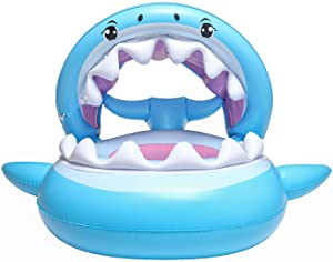 Viyor shop Baby Pool Float with Canopy Inflatable Shark Float for Pool 6-36 Months