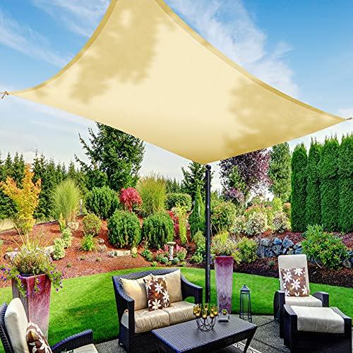 Voile d'ombrage imperméable,TAOPE auvent d'ombrage rectangulaire 2x3m, auvent Anti-UV à 95%, matériau Polyester, pour activités de Plein air/Jardin/Plage/Patio/fête/Piscine/pergola/auvent-Jaune Clair