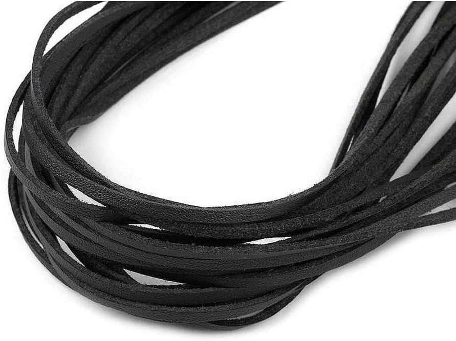 10pc Negro de Imitación de Cuero Plana Cadena de Anchura de 2,5 mm, Y el Eco, Material de cuerda, Cuentas