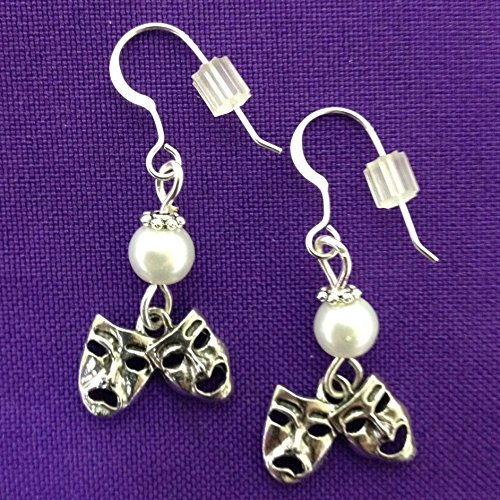 (Comedy Tragedy Earrings on Sterling Silver Earwires with White Glass Pearl Accent Beads)