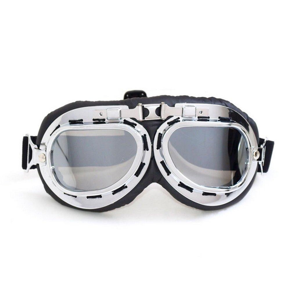 Baselay Motorcycle Goggles Vintage UV Protection Motocross Classic Goggles Retro Aviator Pilot Cruiser Steampunk Motorbike ATV Cycling Racing Glasses