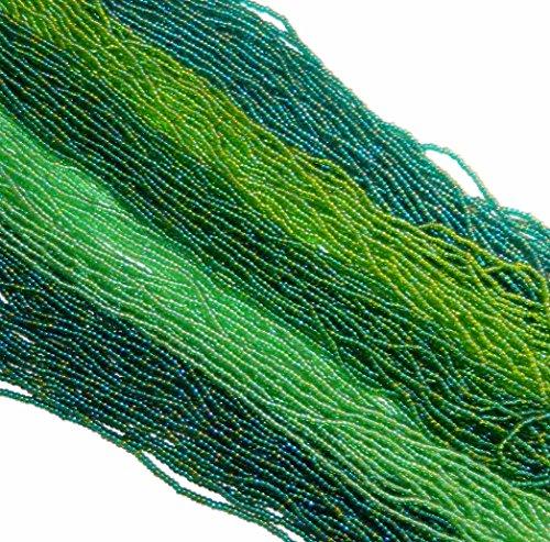 (Green Rainbow Mix Transparent Czech 11/0 Glass Seed Beads 5 Full Hanks Preciosa )