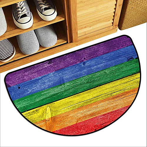 DILITECK Interior Door mat Rainbow Old Tainted Wooden Planks in Rainbow Colors Flag Pattern Pride Theme Vintage Print Machine wash/Non-Slip W36 xL24 Multicolor