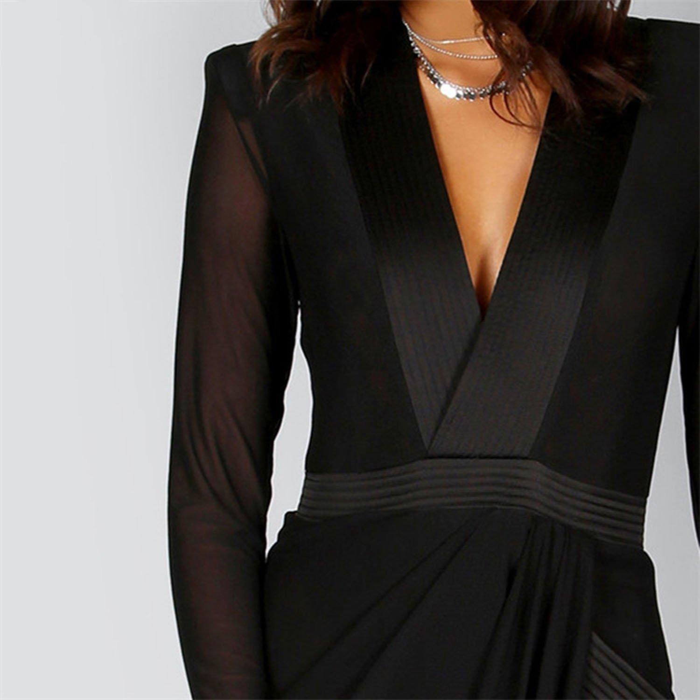 e0ba13a9e4 Romantic moments Sexy WRAP Sheer Club Dress Women Black Deep V Neck  Massager Shoulder Pads Maxi Dresses at Amazon Women s Clothing store