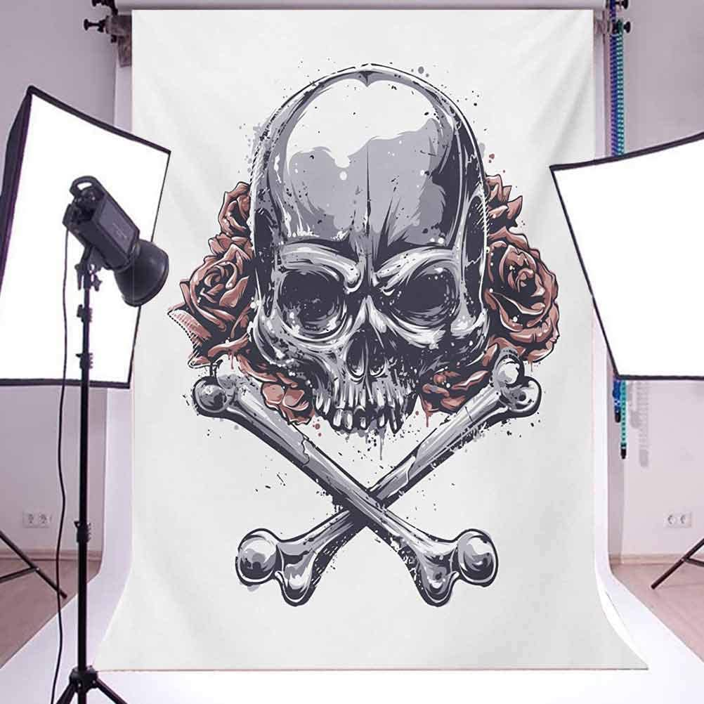 Rose 8x10 FT Photo Backdrops,Grunge Human Skull with Aggressive Expression Crossed Bones Flowers Dirty Look Background for Baby Shower Bridal Wedding Studio Photography Pictures Grey Pale Coral