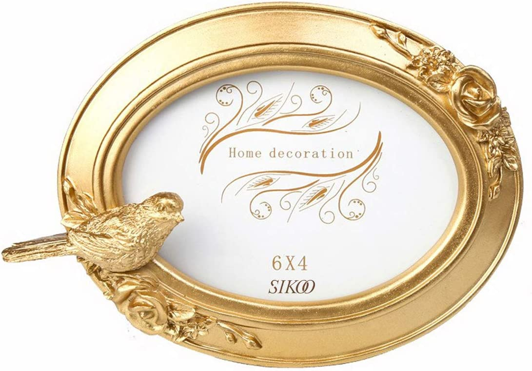 SIKOO Vintage Oval Golden Bird Picture Frame Antique Table Top Wall Hanging Photo Frame with Glass Front for Home Decor (6x4)