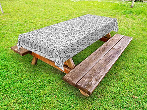 (Ambesonne Abstract Outdoor Tablecloth, Monochrome Welted Forms Voluted Inside Repeating in Regular Order Trippy Art, Decorative Washable Picnic Table Cloth, 58 X 120 Inches, Black and White )