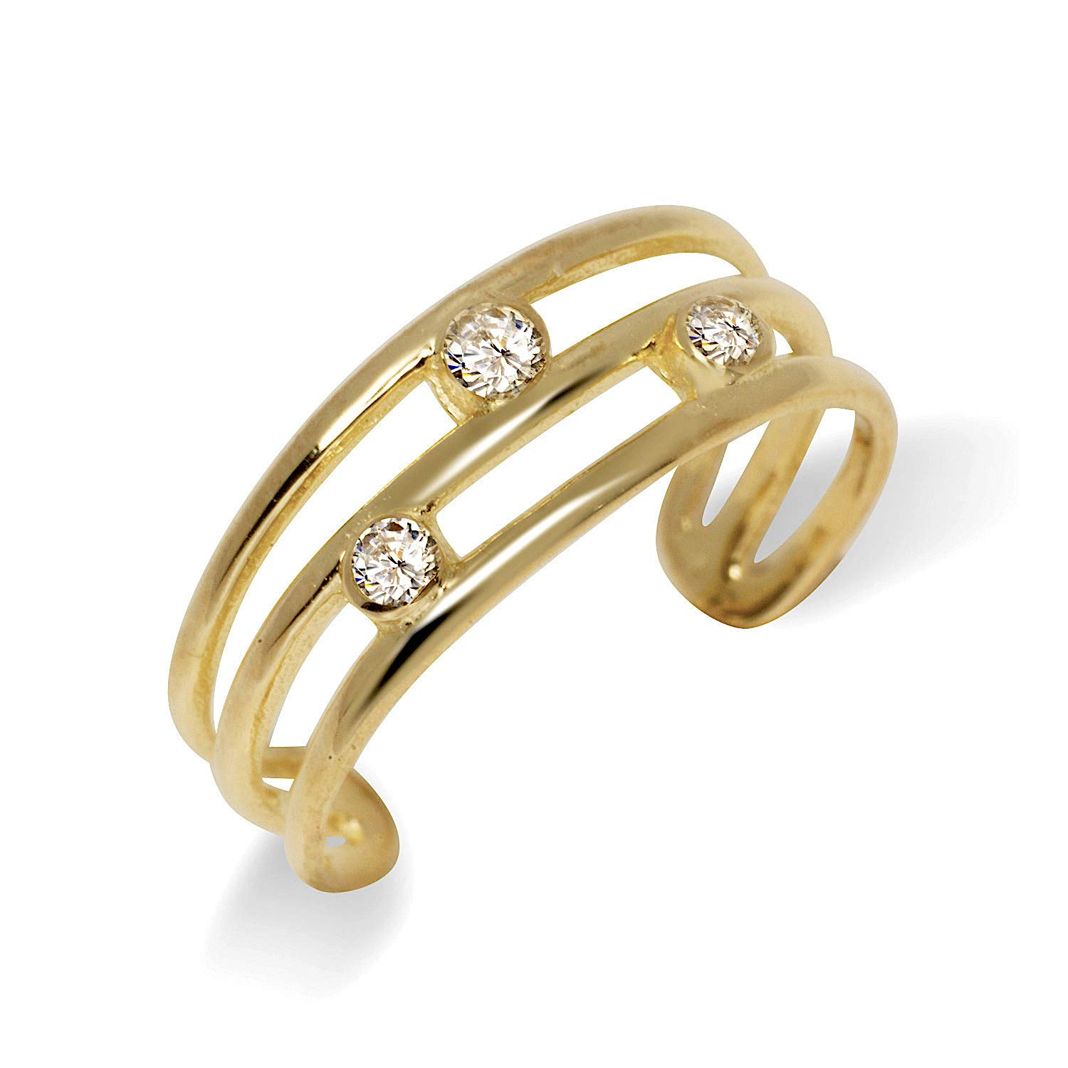 JewelryWeb Solid 10K Yellow or White Gold Adjustable Three Row Bezel-Set Cubic Zirconia Toe Ring (6mmx15mm) (Yellow-Gold)