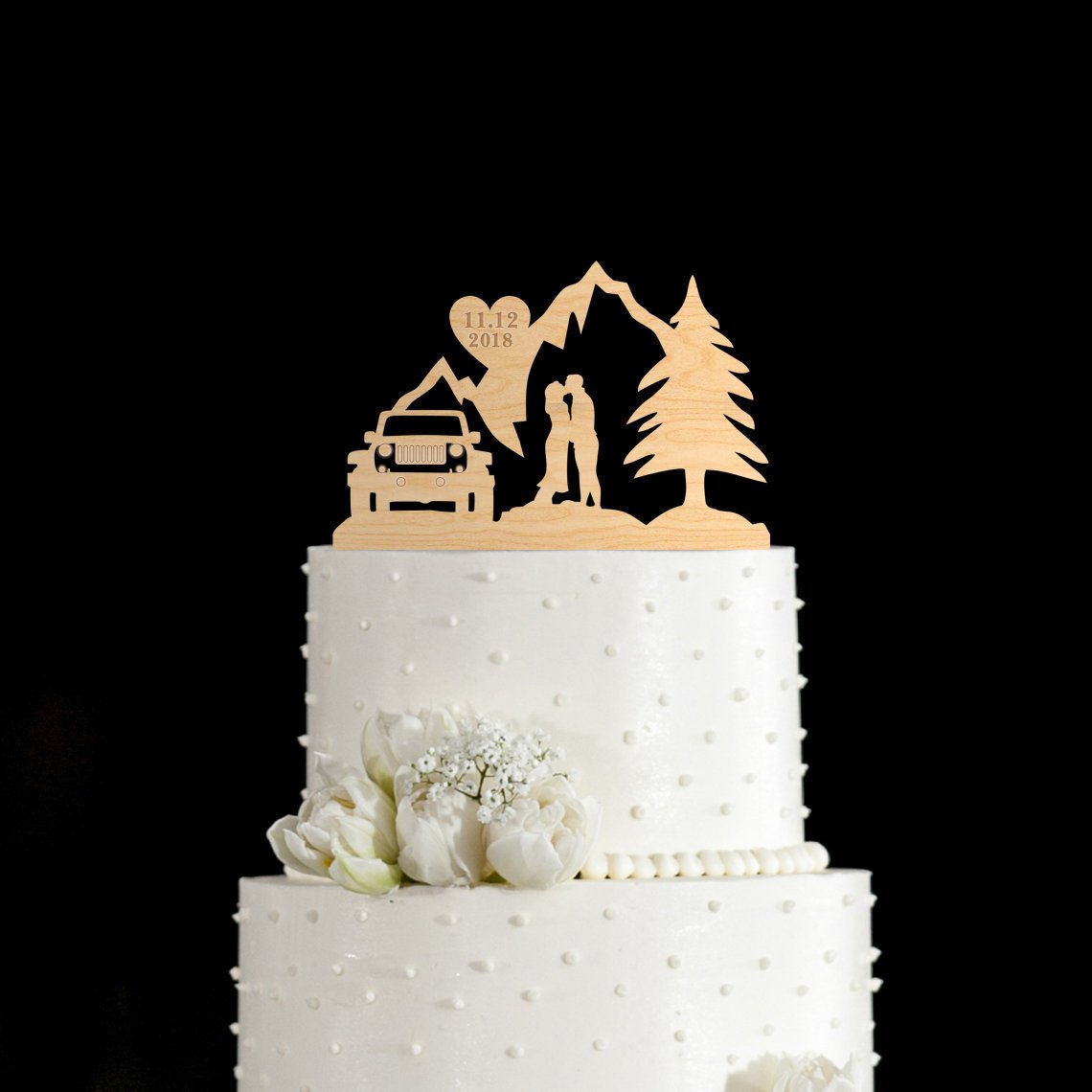 Susie85Electra Mountain Wedding Cake Toppers,Adventure Awaits Mountain Cake Topper,Wedding Cake Toppers Rustic Wood,Country Wedding Decor