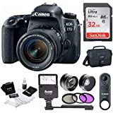 Canon EOS 77D DSLR with 18-55mm Lens & BR-E1 Remote Control + Flash & 32GB Bundle