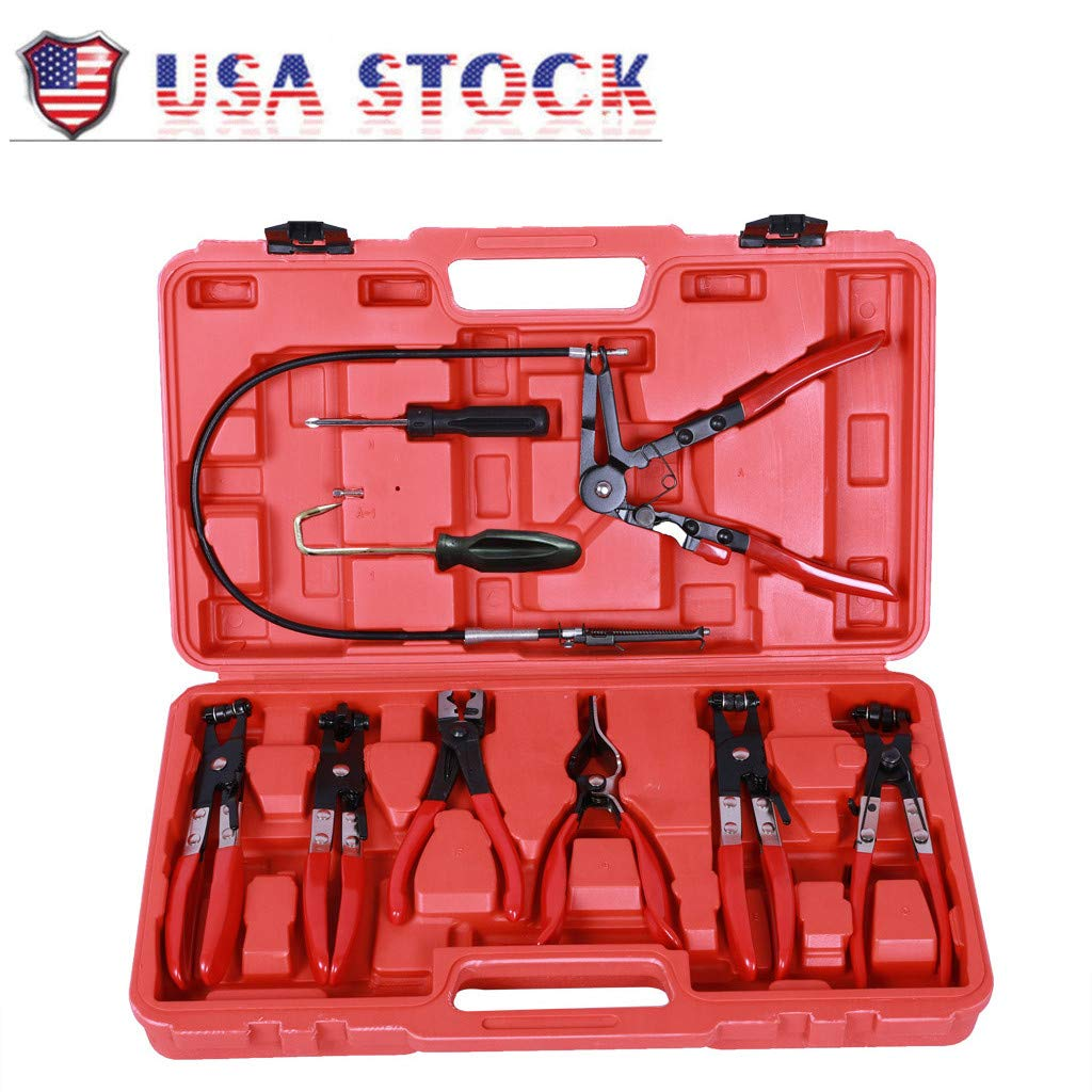 QUICATCH Hose Clamp Clip Plier Set Swivel Jaw Flat Angled Band Automotive Tool 9PC [Ship from USA]