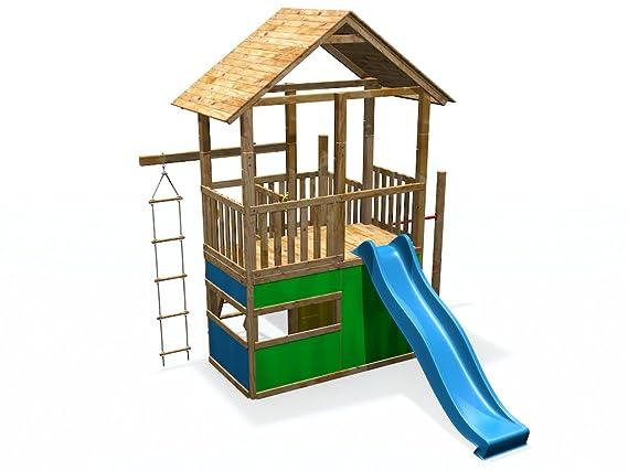 Xxl Klettergerüst 2 4m Kletterturm Spielturm Mit Kletternetz Reckstange Leiter : Spielturm xxl mit rutsche spielhaus reck strickleiter