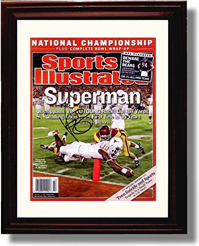 Framed Vince Young Superman Texas Longhorns 2005 Champions SI Autograph Replica Print