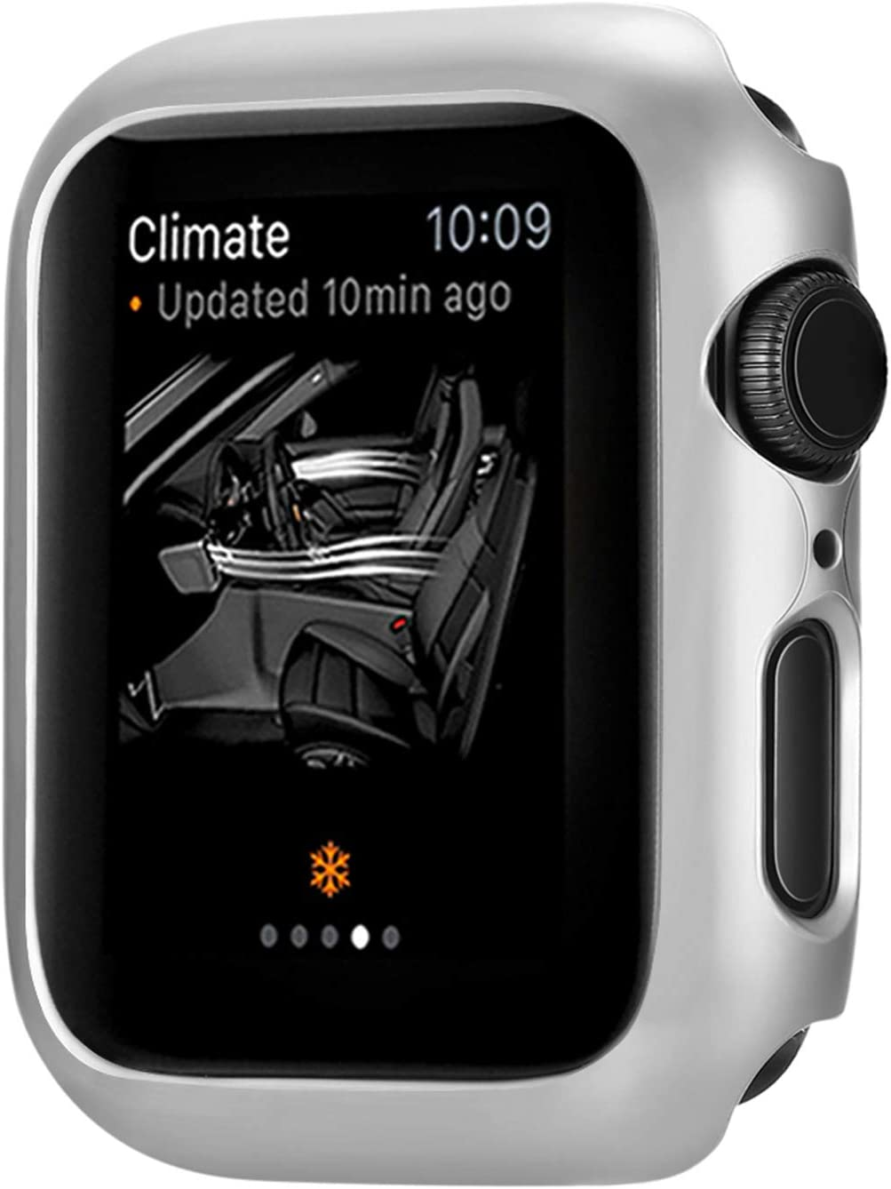 Leotop Compatible with Apple Watch Series 6 5 4 SE Case 44mm 40mm, Super Thin Bumper Protector PC Hard Cover Lightweight Slim Shockproof Accessories Matte Frame Compatible iWatch (Silver, 44mm)