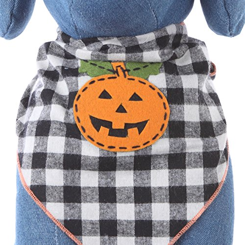Dog Bandana with Halloween Pumpkin Applique (Large)