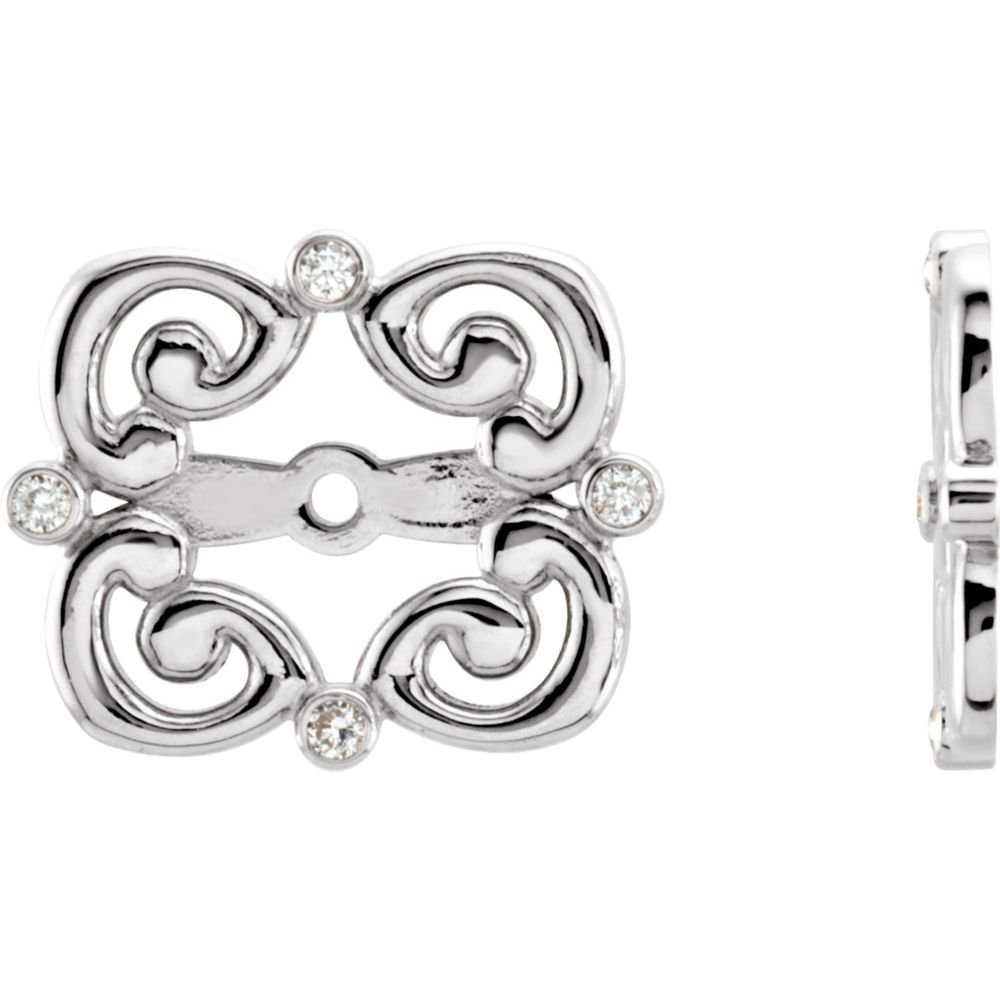 STU001- 14K White .08 CTW Diamond Earring Jackets by STU001-