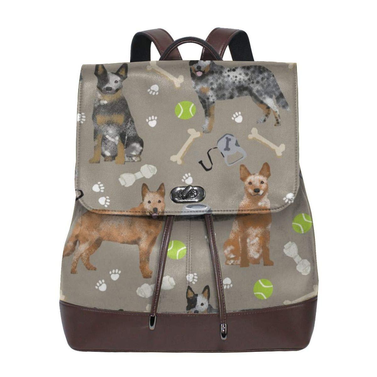 la red entera más baja Fashion Leather Backpack Australian Cattle Dog Dog Dog rojo Heelers Juguetes Medium marrón Purse Waterproof Anti Rucksack PU Leather Bags  suministro directo de los fabricantes