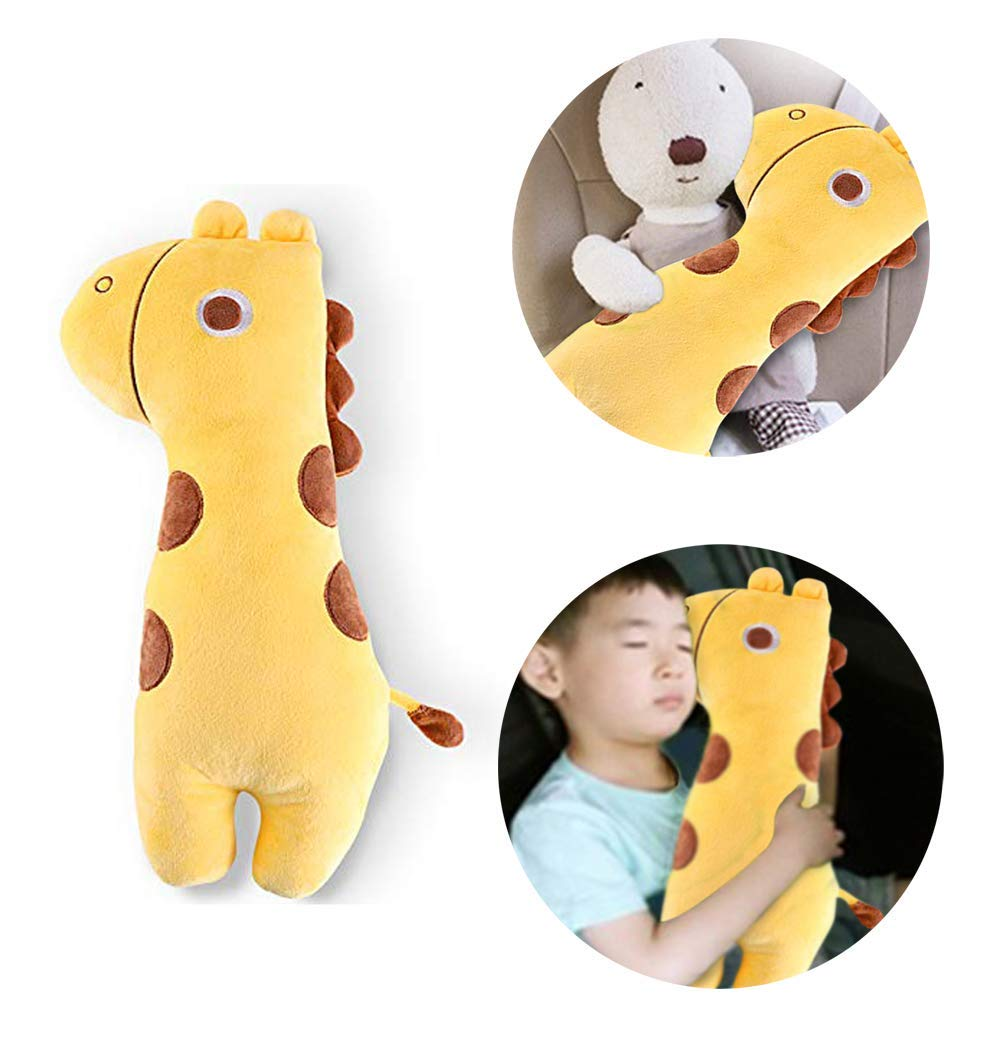Apomelo Cute Giraffe Car Seat Belt Pillow for Kids,Adjustable Strap Shoulder Pads Neck Support Pillow Seatbelt Buddy,Big-Eyes Giraffe by Apomelo