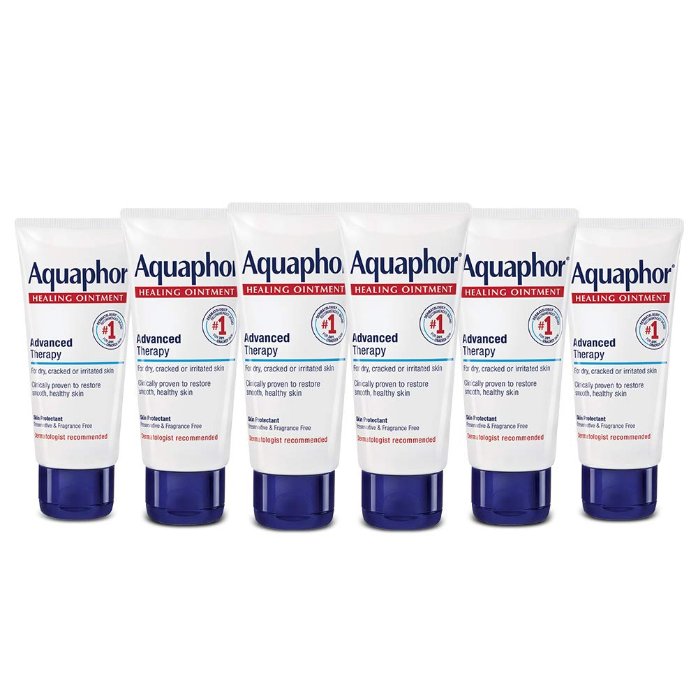 Aquaphor Healing Ointment - Protectant for Dry Cracked Skin - 1.75 oz. Tube (Pack of 6)