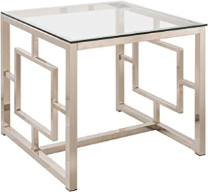 Coaster Home Furnishings Cairns End Table with Glass Top and Geometric Motif Nickel and Clear