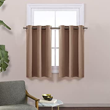 Short Curtains Blackout Valance For Nursery   Thermal Insulated Light  Reducing Drapes For Half Window By