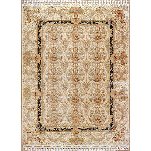 Yilong 9.2'x12.5′ Vintage Handmade Turkish Area Rugs Traditional Oriental Floral Silk Home Carpet