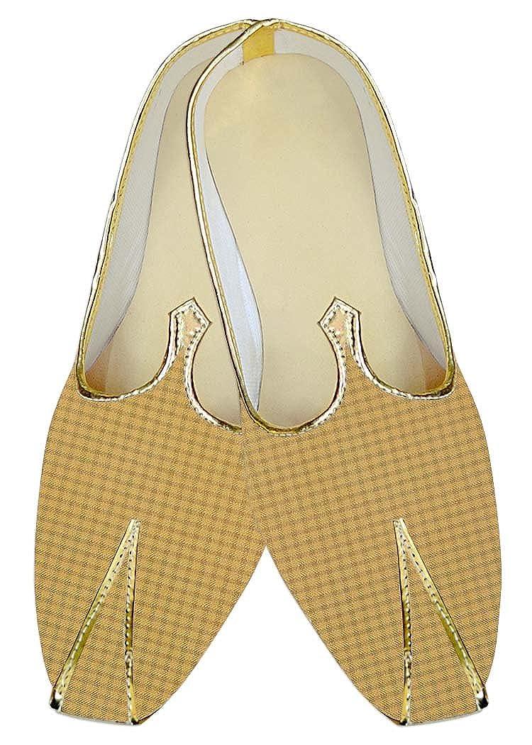 INMONARCH Hombres Gelb Kontrollen Poly Viskose Hochzeit Schuhe MJ015674 37 EU