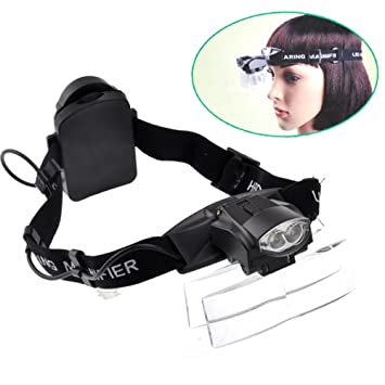94d1a09424 Led Headset Magnifying Glasses Loupe Headband Magnifier Visor with Light  Hands-Free Headlamp for Close