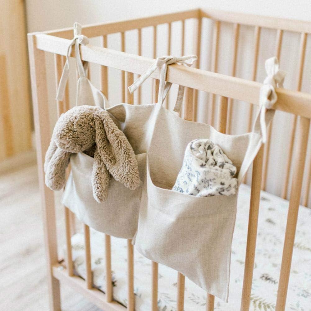 DaMohony Newborn Baby Crib Bed Organizer Two Pockets Linen Hanging Storage Bag