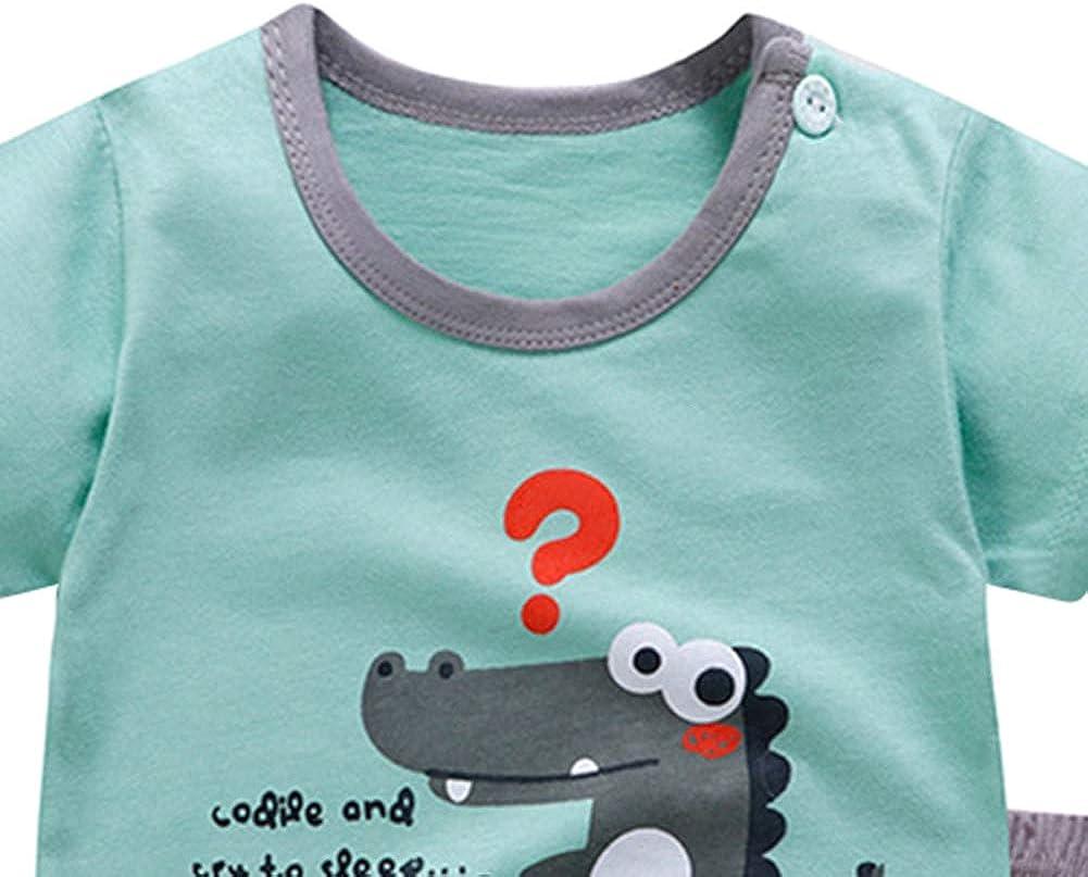 BOBORA Newborn Baby Girl Boy 2PCs Summer Pyjamas Set Short Sleeve Cartoon Dinosaur Rabbit Tops with Cotton Shorts Pjs Sleepwear for 0-4Years
