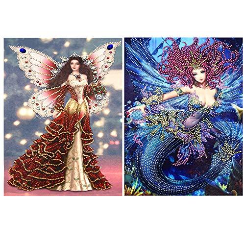 5D Diamond Painting DIY Special Shape Diamond 2 Piece Set Elf and Mermaid Picture Crystal Diamond Painting Adult or Child Handmade Hibah