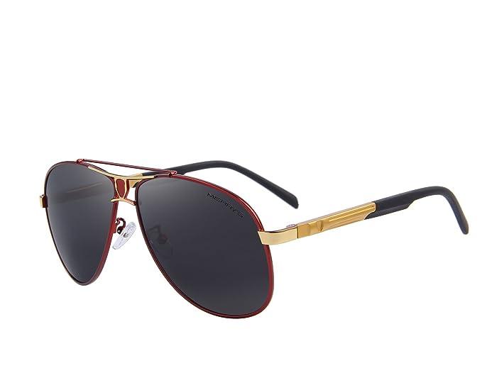 4127cbb3fcf MERRY S HD Polarized Aluminum Sunglasses Luxury Shades Shield Series S8086  (Gold Red