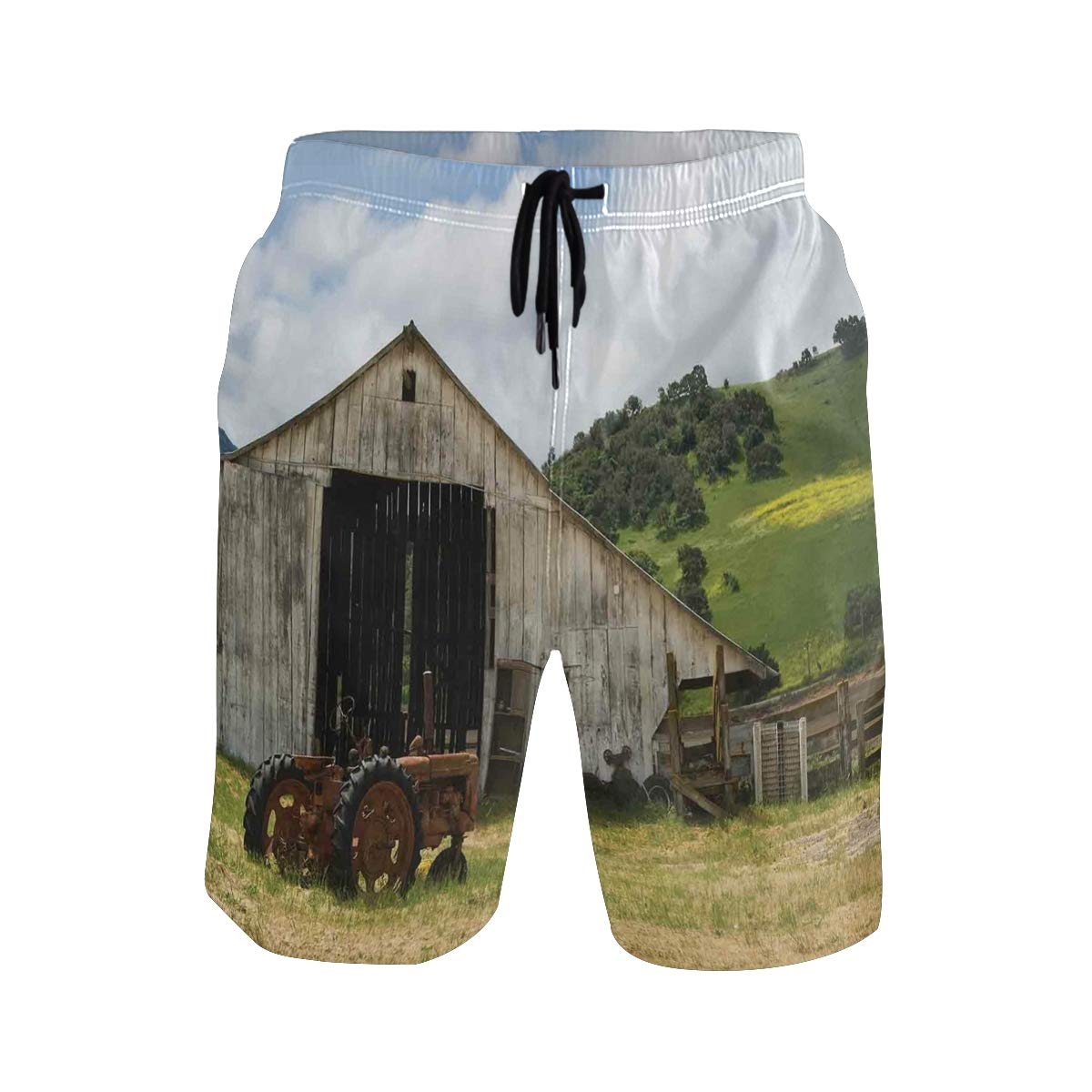 KVMV Old Wooden Barn with Rusted Tractor Hillside Enclosed Fence and T 5size Beach Shorts