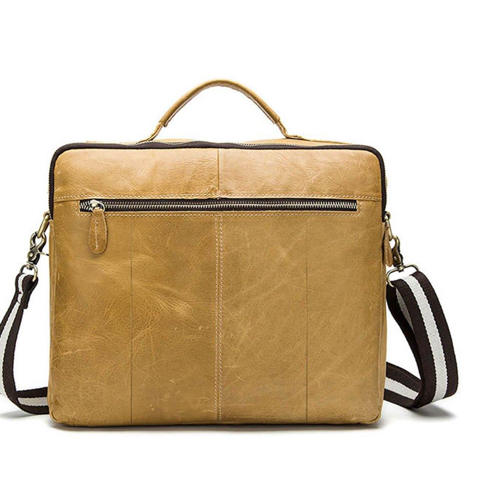 Multi-Color Optional Color : Yellow FLYSXP Retro Mens Shoulder Bag Mens Messenger Bag Handbag Briefcase Men 35 30 9cm Briefcase