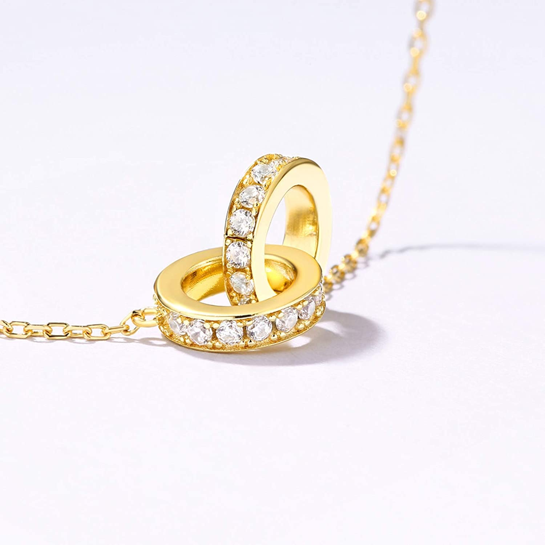 Adisaer 925 Sterling Silver Interlocking Cubic Zirconia Necklace 925 Women