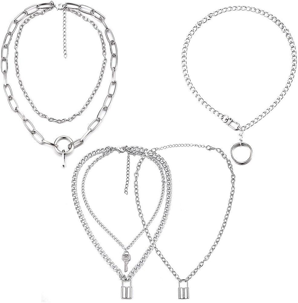 Tanersoned 4 Piezas Collar con candado de Punk, Gargantilla de Aleación Colgante de Cerradura, Idea Regalo Original para Mujeres Hombres(Plata)