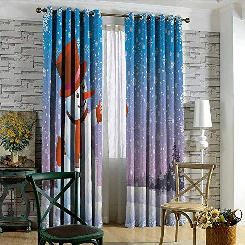 hengshu Snowman 99% Blackout Curtains Cartoon Happy Snowman Looking at The Snowflake ICY Winter Scenery Evergreen Woods for Bedroom Kindergarten Living Room W72 x L96 Inch Multicolor (Snowman Made Out Of Cups For Door)